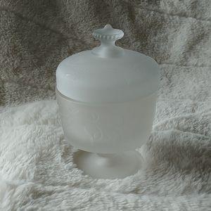 Vintage frosted glass vanity powder jar